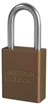 Brown, American Lock A1106BRN Lockout Padlock - Brown anodized aluminum padlock - 1-1/2 inch hardened steel chrome plated shackle.