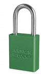 Green, American Lock A1106GRN Lockout Padlock - Green anodized aluminum padlock - 1-1/2 inch hardened steel chrome plated shackle.