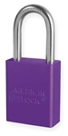 Purple, American Lock A1106PRP Lockout Padlock - Purple anodized aluminum padlock - 1-1/2 inch hardened steel chrome plated shackle.
