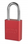 Red, American Lock A1106RED Lockout Padlock - Red anodized aluminum padlock - 1-1/2 inch hardened steel chrome plated shackle.