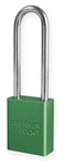 Green, American Lock A1107GRN Lockout Padlock - Green anodized aluminum padlock - 3 inch hardened steel chrome plated shackle.