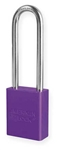 Purple, American Lock A1107PRP Lockout Padlock - Purple anodized aluminum padlock - 3 inch hardened steel chrome plated shackle.
