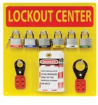Mini Lockout Center - 10 Lockout tag, 6 3/4 inch master Lock Safety Lockout, 2 Hasps (1 and 1.5 inch)