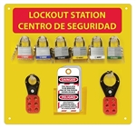 Bilingual 6 Padlock Lockout Center - 10 Lockout tag, 6 3/4 inch master Lock Safety Lockout, 2 Hasps (1 and 1.5 inch)