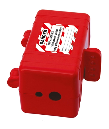"Multiple Entry Electrical Plug Lockout - Red. LP550 accepts 220 V and 550 V plugs (up to 3"" x 3"" x 6 3/4"") with a maximum cable diameter of 1""."