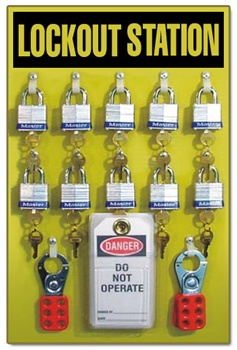 10 Padlocks, 25 Lockout Tags, 3 Hasps, Lock Out Stations - Heavy Duty 19 X 12 yellow acrylic plastic panel.