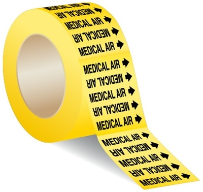 MEDICAL AIR - 3 X 3 Pressure sensitive vinyl markers designs to fit pipes up to 1 inch in diameter