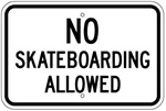 NO SKATEBOARDING ALLOWED Sign - 12 X 18 – Reflective .080 Aluminum, visible day or night. Top and Bottom mounting holes.