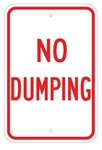 NO DUMPING VIOLATORS WILL BE PROSECUTED Sign - 12 X 18 – Reflective .080 Aluminum, visible day or night. Top and Bottom mounting holes.