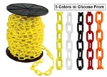 "Stanchion and Guide Post Chain, Yellow, White, Black, Red, Orange - 1 1/2"" and 2"" Sold 100' per box - Made from lightweight yet remarkably strong polyethylene."