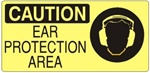 CAUTION EAR PROTECTION AREA (Picto) Sign, Choose from 5 X 7 or 7 X 17 Pressure Sensitive Vinyl, Plastic or Aluminum.