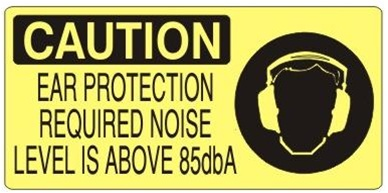 CAUTION EAR PROTECTION REQUIRED NOISE LEVEL IS ABOVE 85dbA (Picto) Sign, Choose from 5 X 12 or 7 X 17 Pressure Sensitive Vinyl, Plastic or Aluminum.