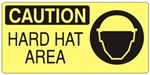CAUTION HARD HAT AREA (Picto) Sign, Choose from 5 X 12 or 7 X 17 Pressure Sensitive Vinyl, Plastic or Aluminum.