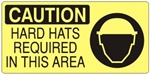 CAUTION HARD HATS REQUIRED IN THIS AREA (Picto) Sign, Choose from 5 X 12 or 7 X 17 Pressure Sensitive Vinyl, Plastic or Aluminum.