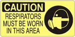 CAUTION RESPIRATORS MUST BE WORN IN THIS AREA (Picto) Sign, Choose from 5 X 12 or 7 X 17 Pressure Sensitive Vinyl, Plastic or Aluminum.