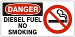 DANGER DIESEL FUEL NO SMOKING (w/graphic) Sign, Choose from 5 X 12 or 7 X 17 Pressure Sensitive Vinyl, Plastic or Aluminum.