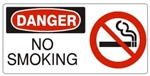 DANGER NO SMOKING (w/graphic) Sign, Choose from 5 X 12 or 7 X 17 Pressure Sensitive Vinyl, Plastic or Aluminum.