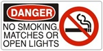 DANGER NO SMOKING, MATCHES OR OPEN LIGHTS (w/graphic) Sign, Choose from 5 X 12 or 7 X 17 Pressure Sensitive Vinyl, Plastic or Aluminum.