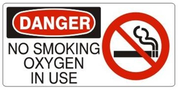 DANGER NO SMOKING OXYGEN IN USE (w/graphic) Sign, Choose from 5 X 12 or 7 X 17 Pressure Sensitive Vinyl, Plastic or Aluminum.