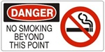 DANGER NO SMOKING BEYOND THIS POINT (w/graphic) Sign, Choose from 5 X 12 or 7 X 17 Pressure Sensitive Vinyl, Plastic or Aluminum.