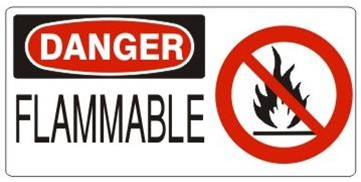 DANGER FLAMMABLE (w/graphic) Sign, Choose from 5 X 12 or 7 X 17 Pressure Sensitive Vinyl, Plastic or Aluminum.