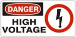 DANGER HIGH VOLTAGE (w/graphic) Sign, Choose from 5 X 12 or 7 X 17 Pressure Sensitive Vinyl, Plastic or Aluminum.