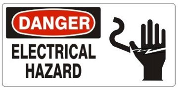 DANGER ELECTRICAL HAZARD (w/graphic) Sign, Choose from 5 X 12 or 7 X 17 Pressure Sensitive Vinyl, Plastic or Aluminum.