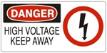 DANGER HIGH VOLTAGE KEEP AWAY (w/graphic) Sign, Choose from 5 X 12 or 7 X 17 Pressure Sensitive Vinyl, Plastic or Aluminum.