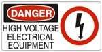 DANGER HIGH VOLTAGE ELECTRICAL EQUIPMENT (w/graphic) Sign, Choose from 5 X 12 or 7 X 17 Pressure Sensitive Vinyl, Plastic or Aluminum.