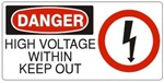 DANGER HIGH VOLTAGE WITHIN KEEP OUT (w/graphic) Sign, Choose from 5 X 12 or 7 X 17 Pressure Sensitive Vinyl, Plastic or Aluminum.