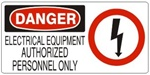 DANGER ELECTRICAL EQUIPMENT AUTHORIZED PERSONNEL ONLY (w/graphic) Sign, Choose from 5 X 12 or 7 X 17 Pressure Sensitive Vinyl, Plastic or Aluminum.