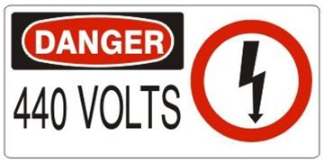 DANGER 440 VOLTS (w/graphic) Sign, Choose from 5 X 12 or 7 X 17 Pressure Sensitive Vinyl, Plastic or Aluminum.