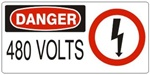 DANGER 480 VOLTS (w/graphic) Sign, Choose from 5 X 12 or 7 X 17 Pressure Sensitive Vinyl, Plastic or Aluminum.