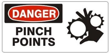 DANGER PINCH POINTS (Picto) Sign, Choose from 5 X 12 or 7 X 17 Pressure Sensitive Vinyl, Plastic or Aluminum.