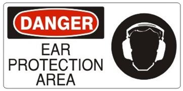 DANGER EAR PROTECTION AREA (w/graphic) Sign, Choose from 5 X 12 or 7 X 17 Pressure Sensitive Vinyl, Plastic or Aluminum.