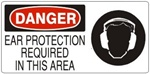 DANGER EAR PROTECTION REQUIRED IN THIS AREA (w/graphic) Sign, Choose from 5 X 12 or 7 X 17 Pressure Sensitive Vinyl, Plastic or Aluminum.
