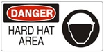 DANGER HARD HAT AREA (w/graphic) Sign, Choose from 5 X 12 or 7 X 17 Pressure Sensitive Vinyl, Plastic or Aluminum.