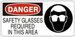 DANGER SAFETY GLASSES REQUIRED IN THIS AREA (w/graphic) Sign, Choose from 5 X 12 or 7 X 17 Pressure Sensitive Vinyl, Plastic or Aluminum.