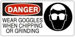 DANGER WEAR GOGGLES WHEN CHIPPING OR GRINDING (w/graphic) Sign, Choose from 5 X 12 or 7 X 17 Pressure Sensitive Vinyl, Plastic or Aluminum.
