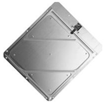 Riveted Aluminum Placard Holder w/Back Plate - 14 x 14, .030 Aluminum, Stainless Steel Clips, 8 mounting Holes and with drain.