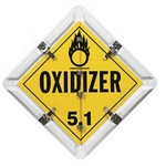 Aluminum Flip Placard - 8 Legend - Flip-file placard legends Dangerous, Flammable Liquid (3), Corrosive (8), Flammable Gas (2), Inhalation Hazard (6), Oxidizer (5.1), Poison (6), Non-Flammable Gas (2). Standard