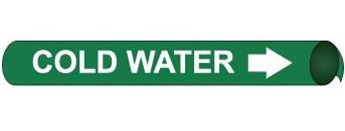 Cold Water Pre-coiled and Strap On Pipe Markers - Available in 8 Sizes
