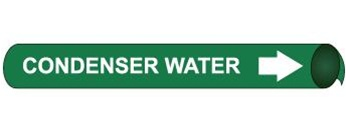 Condenser Water Pre-coiled and Strap On Pipe Markers - Available in 8 Sizes
