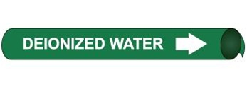 Deionized Water Pre-coiled and Strap On Pipe Markers - Available in 8 Sizes