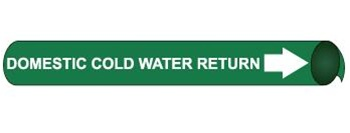 Domestic Cold Water Return Pre-coiled and Strap On Pipe Markers - Available in 8 Sizes