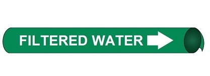 Filtered Water Pre-coiled and Strap On Pipe Markers - Available in 8 Sizes