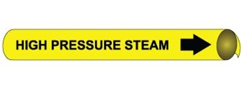 High Pressure Steam Pre-coiled and Strap On Pipe Markers - Available in 8 Sizes
