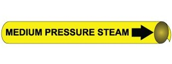 Medium Pressure Steam Pre-coiled and Strap On Pipe Markers - Available in 8 Sizes