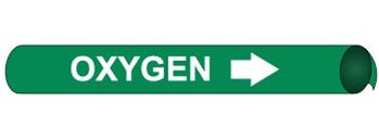 Green Oxygen Pre-coiled and Strap On Pipe Markers - Available in 8 Sizes