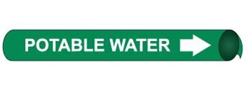 Potable Water Pre-coiled and Strap On Pipe Markers - Available in 8 Sizes